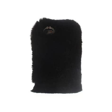 coque en fourrure noire ultra douce pour iphone