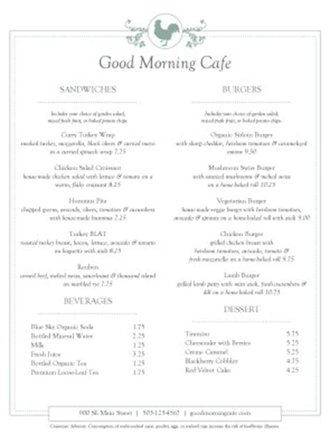 Buffet Cafe Menu Cafe Menus Buffet List