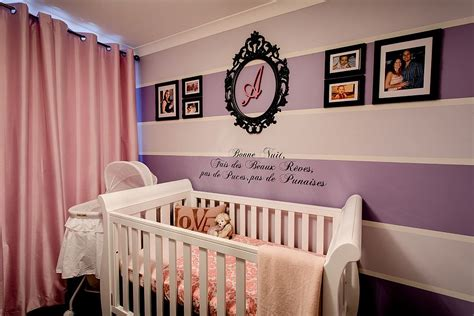 baby girl room purple and pink baby girl nursery with striped accent wall
