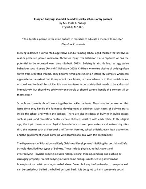 Essay On by Essay On Bullying