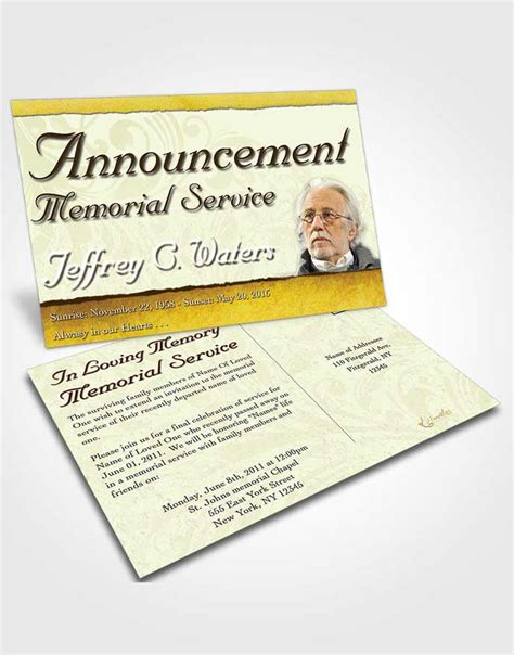 funeral announcement cards templates obituary template trifold brochure destiny