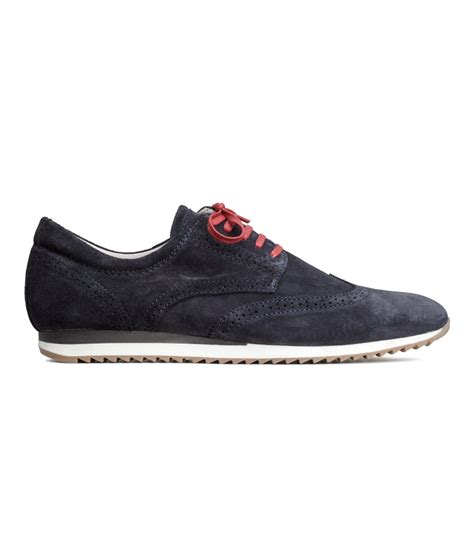 h m mens sneakers h m suede sneakers in blue for lyst
