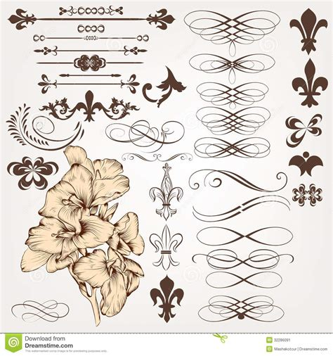 vintage design elements vector set 23 vector set of vintage calligraphic design elements and