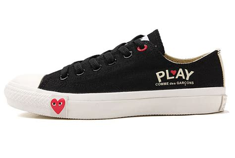 play shoes converse comme des garcons play ii black low top canvas