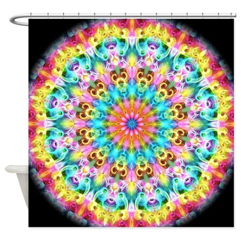 swirling bright rainbow mandala shower curtain by zandiepants