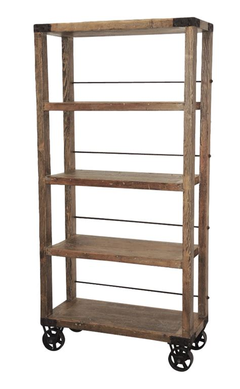 Tall industrial bookcase on wheels   Bookcases & Shelves