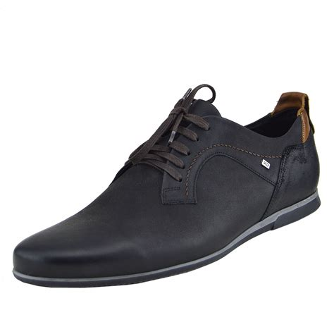 Shoes Mens mens real leather smart formal lace up casual trainers