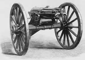 Illustration of a gatling gun illustrated london news hulton archive