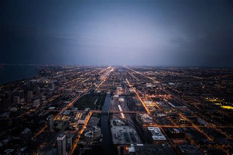 road cityscape chicago lights horizon wallpapers hd