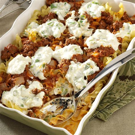 recipetips now hamburger casserole cheesy beef casserole recipe taste of home