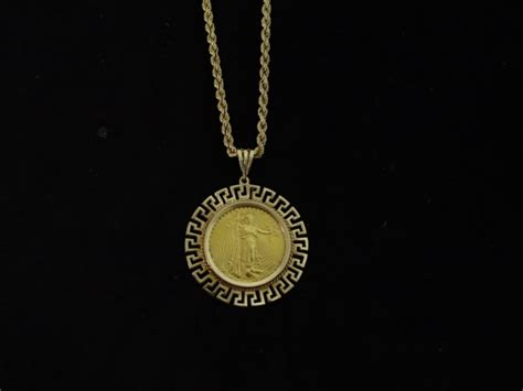 20 dollar gold coin pendant and rope necklace