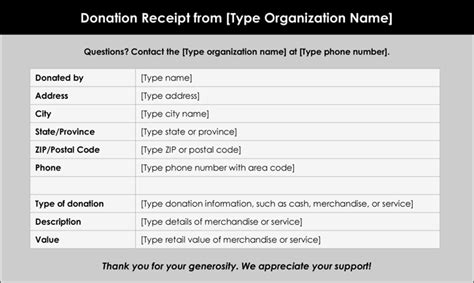Donation Of Goods Receipt Template by Donation Receipt Template 12 Free Sles In Word And Excel