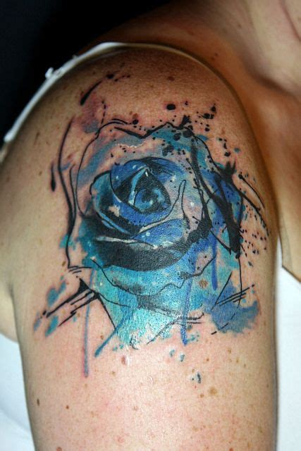 abstract watercolor blue rose tattoo rose tattoos