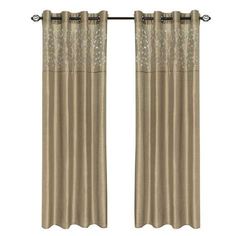 curtain lenths lavish home taupe sofia grommet curtain panel 108 in