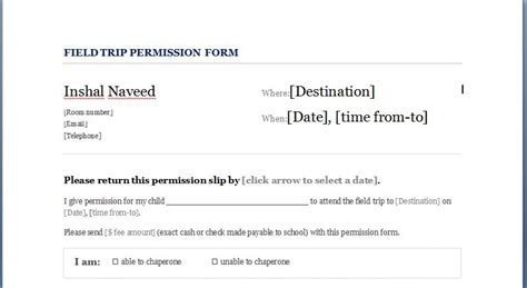 Parent Permission Letter For Field Trip school field trip permission form for students formal