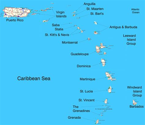 map of eastern us islands island caribbean islands map