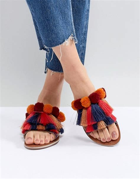 Flat Mix Pom glamorous glamorous multi pom and tassel flat slides