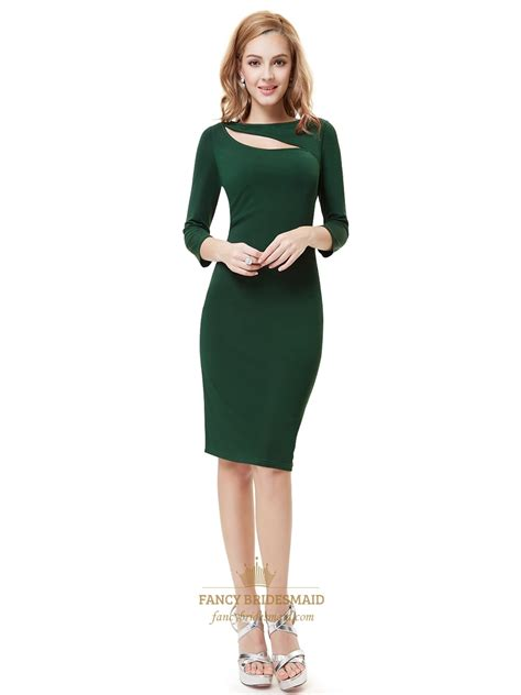 green cocktail dresses with sleeves emerald green knee length sheath cocktail dress with 3 4