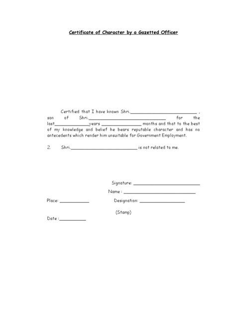 Reference Letter Format By Gazetted Officer Character Certificate By Gazetted Officer