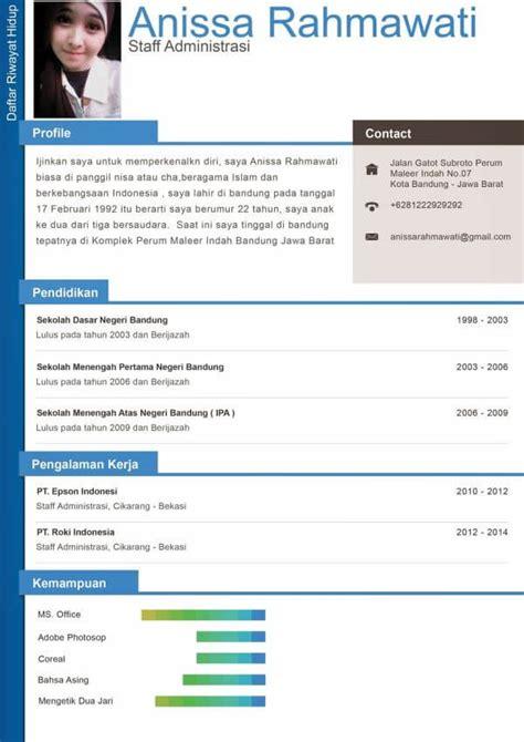 format daftar riwayat hidup yang baru 15 contoh cv lamaran kerja daftar riwayat hidup yang
