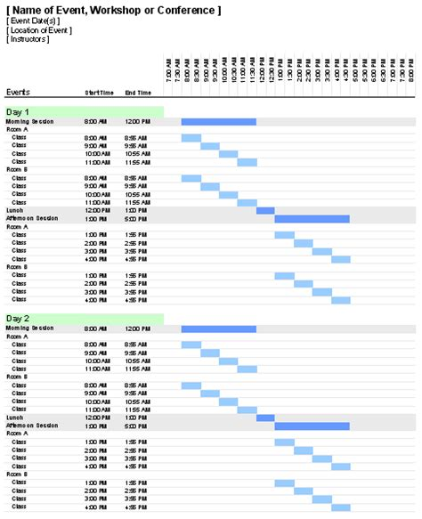 Gantt Chart Template Pro For Excel Event Staff Schedule Template