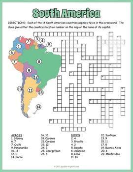 5 themes of geography crossword puzzle south america geography crossword puzzle south america