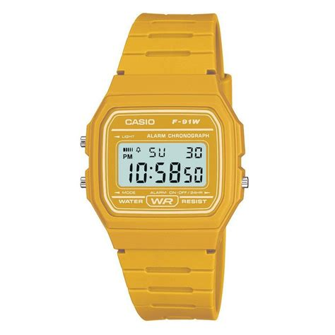 casio digital with yellow f 91wc 9aef 163 17 00