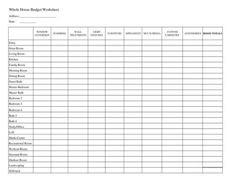 free budget worksheet template printable household budget worksheets whole house budget