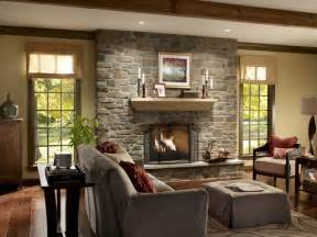 fireplace with windows both sides house