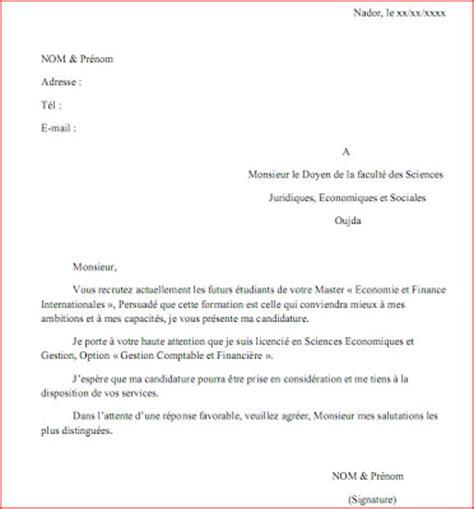 Exemple D Une Lettre Formelle En Francais Maache Exemple D Une Lettre De Demande D Inscription En Master
