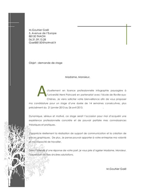 Lettre Demande De Stage Originale Lettre De Motivation Originale Le Dif En Questions