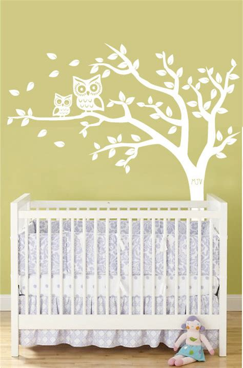 Personalized Wall Decals For Nursery Personalized Tree And Owl Nursery Wall Decal For Baby In White