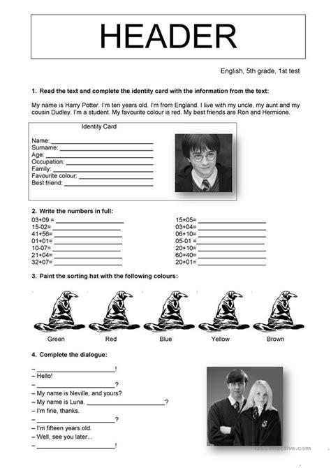 the harry potter test worksheet free esl printable