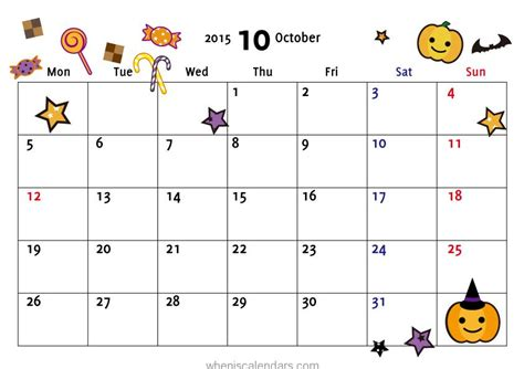 7 best images of october 2015 calendar printable