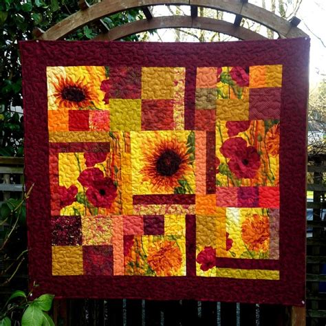Bright Patchwork Quilt - sunflower quilt patchwork quilts handmade happy