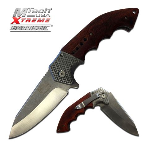 silver blade knife mtech large wood handle silver blade assist