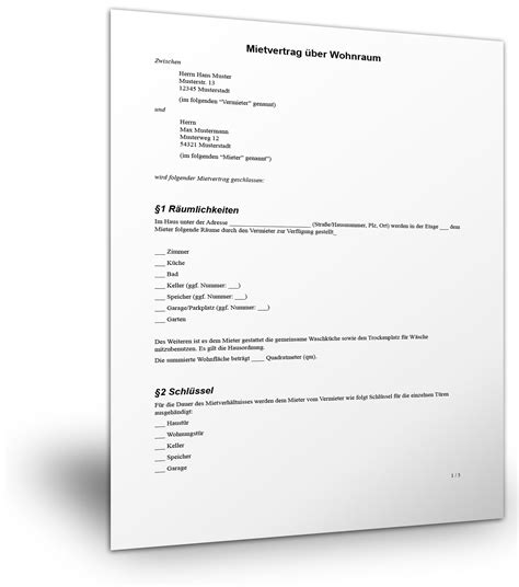 Kostenlose Vorlage Untermietvertrag mustervorlage f 252 r einen befristeten mietvertrag