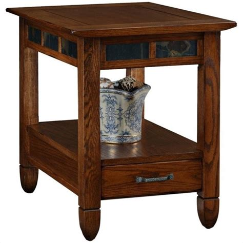 accent table storage leick furniture slatestone storage end table in a rustic