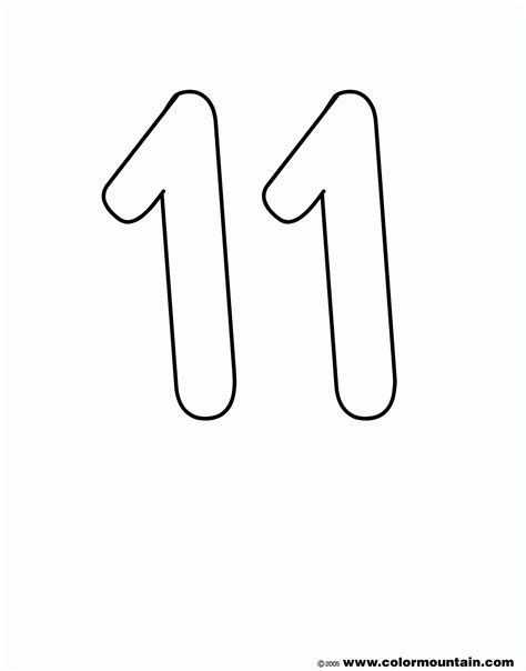 coloring page of number 11 number 11 coloring page coloring home