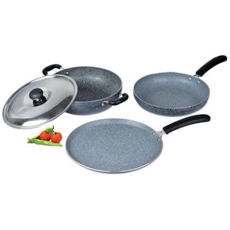 buy kitchen queen 70 pcs buy 3 pcs granite texture finish cookware online at best
