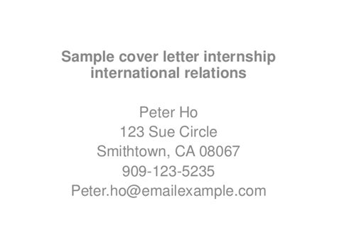 Cover Letter For Internship International Relations Sle Cover Letter Internship International Relations