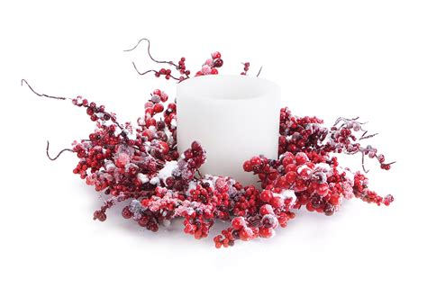 candle ring snow red berries mixed berry candle ring w snow northpoledecor