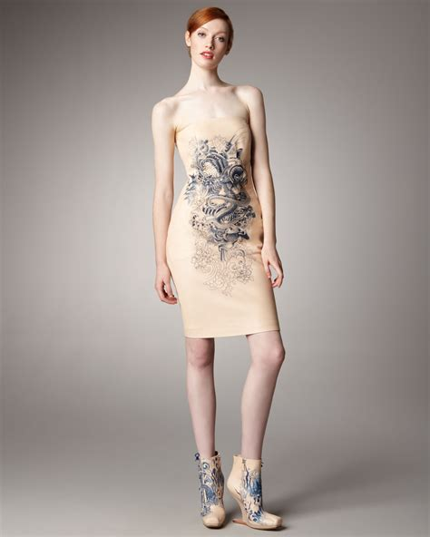 girls with tattoos naked lyst jean paul gaultier print leather dress in
