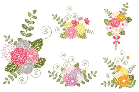 Wedding Bouquet Clipart by Flower Bouquets Clip Illustrations On Creative Market