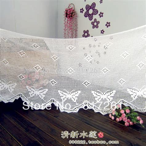 Butterfly Lace Curtains Free Shipping White Cotton Crochet Lace Window Valance
