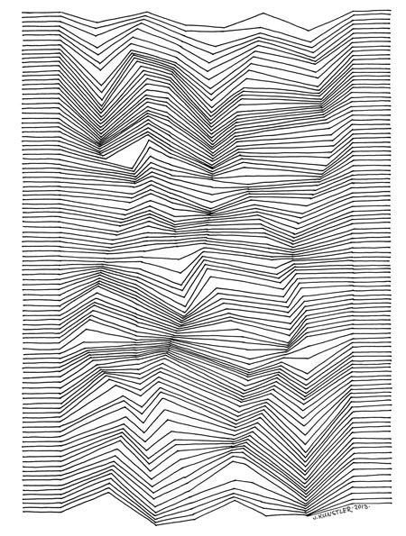 Line Arts drawing with lines optical design lesson