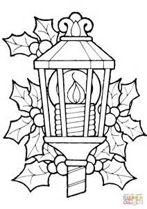 christmas lantern and holly coloring page free printable