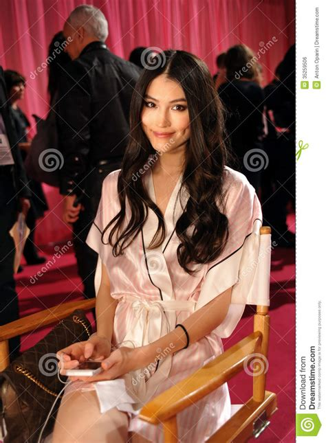 hair shows in new york 2013 new york ny november 13 model sui he prepares at the