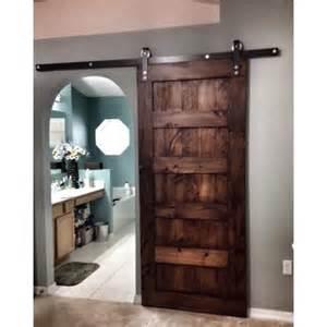Custom made sliding barn door 5 panel design special walnut