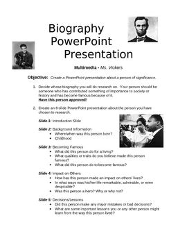 biography templates for powerpoint biography powerpoint project by sheri powers teachers